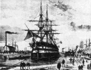 HMVS Nelson entering the Alfred Graving Dock on March, 2 1874. The first ship to do so.
