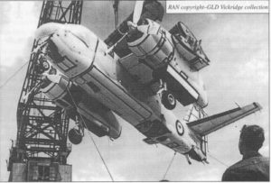 Grumman S-2E Trackers being offloaded from HMAS Melbourne after the delivery voyage