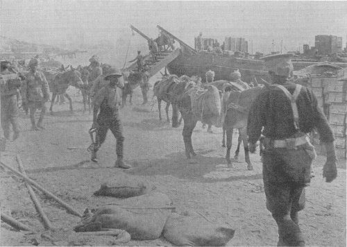 Beach landing operations by X lighter at Anzac Cove 1915.