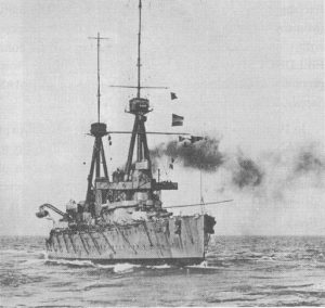 HMS Inflexible, one of Admiral Sturdee's two battlecruisers at the Battle of the Falklands, 1914