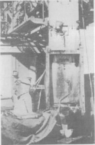 "Australia hoisting crashed K5103/ onboard. Dummy pilot ""Fearless Fred"" amongst recovered wreckage on deck"