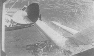 Australia's boat attaching a line to recover crashed K5102