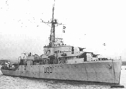 HMS Mermaid, a modified Black Swan Class sloop, with several U-boat kills to her credit during WW2. After the war she spent many years in the Mediterranean, including service with the Haifa Patrol off Palestine. She was later sold to the new West German Navy and renamed Scharnhorst.