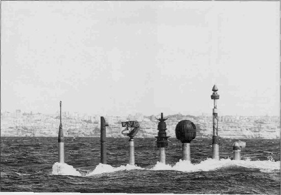 Oberon Class submarine periscope arrays displayed at periscope depth.