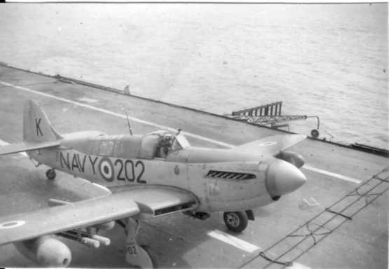 Fairey Firefly AS Mk 6, 817 Squadron RAN. Probably in February 1955 aboard the aircraft carrier HMAS Sydney. The aircraft is taxying to the catapult prior to launch for rocket projectile firing. The aircraft is armed with four rocket projectiles with 60lb concrete heads. (Pilot and photo: John van Gelder)