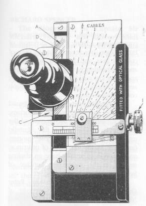 Stuart's Distance Meter - a hand held instrument for visual ranging between 1/4 and about 15 cables distance, on objects of known height . (ie. ships' masthead height)