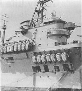 Carley Raft stowages on aircraft carrier HMAS Vengeance (Photo: NHS archives)