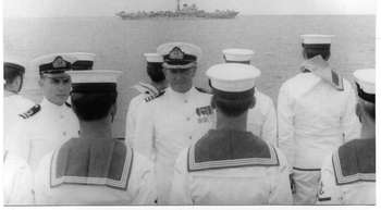 Commander Kel Duncan inspecting Divisions on board HMAS Duchess, 1967. The young lieutenant is Lieutenant David York.