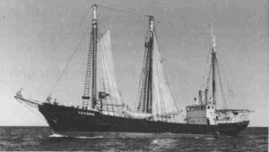 Gerard in her peacetime outfit, masts attached (Image:Albert Adams)