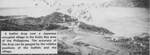A leaflet drop over a Japanese occupied village in the Subic Bay area of the Phillipines. The accuracy of the drop can be gauged by the relative position of the leaflets and the village.