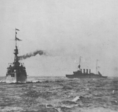HMS Dublin and HMAS Sydney at sea