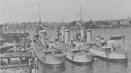"The ""S"" Class destroyers Tattoo, Stalwart and Swordsman laid up in reserve at Garden Island, 1930."