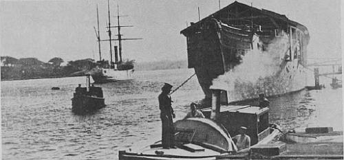 H.M.S. Penguin Depot and Receiving ship, Sydney, and H.M.S. T o r c h (sloop, in reserve) circa 1903