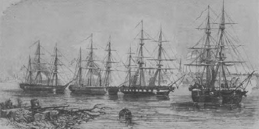 HM ships Conflict, Desperate, Archer and Gorgon of the Courland Squadron are depicted bombarding, Russian defences on the Balder River, near Riga. Gorgon is a paddle wheeler while her three companions are screw. The illustration appeared in the November, 1854, edition of the London Illustrated News.