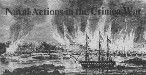 A British frigate stands off the burning port of Hango. Landing parties are already ashore and enemy vessels alongside are silent. The illustration appeared in the November, 1854, edition of the London Illustrated News.