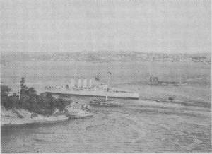 """AUSTRALIA"" passing Fort Denison on her way to sea. 4.12.34"