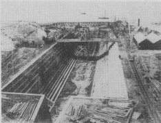 The new dry dock at Calliope Point nearing completion in 1887. (Photo RNZN)