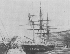 """Stern view of """"CALLIOPE"""" in position over the blocks. (Photo RNZN)"""