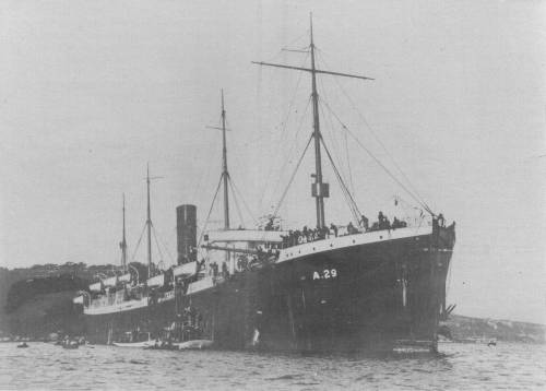 Troopship SS Suevic in Sydney Harbour