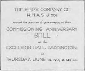 CENSORSHIP AT WORK: Warship J.207 would NOT be identified as HMAS Mildura on this 1944 invitation to the corvette's commissioning anniversary ball at Paddington, NSW.