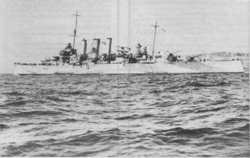 HMAS Australia during the early days of World War 2 in camoflague.