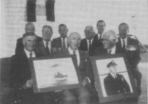 From Left to Right: Admiral Sir Anthony Syynot K.B.E., A.O., Rear Admiral W. D. H. Graham, C.B.E., Captain L. M. Hinchliffe, D.S.C., David Hopkins, Secretary of H.M.A.S. Australia Assoc., Admiral Sir Victor Smith, A.C., K.B.E., C.B., D.S.C., Rear Admiral W. J. Dovers, C.B.E., D.S.C., Commodore Peter Dechiaineux, A.M., Vice Admiral Richard Peek, K.B.E., C.B., D.S.C., Commodore Ian Burnside, O.B.E. (Photo taken on 29/9/1989 at the A.D.F.A. by Alan Zammit)