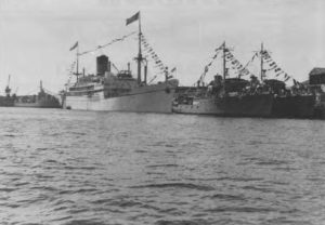 A royal occasion, the temporary royal yacht SS GOTHIC at Fremantle in 1954 during the Queen's first tour of Australia. In this photo taken by Roy Hall are the Australian Corvettes FREMANTLE and JUNEE with HMAS BATAAN astern of the GOTHIC,