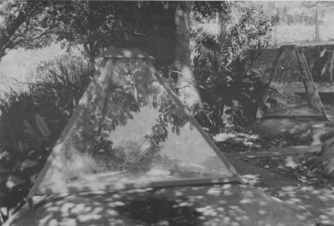 Glass pyramids protecting initials engraved on rocks, northern hill, Garden Island.