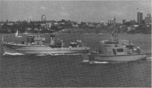 Past and present; the veteran Ton class minehunter HMAS Curlew with the new HMAS Shoalwater
