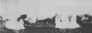 German shells fall around Sturdee's flagship.