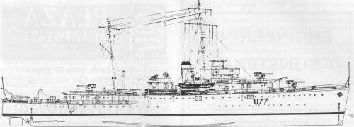 HMAS YARRA, September, 1940: profile. (P. Webb)
