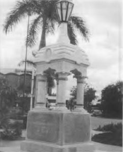 "The relocated Koch Memorial, beside the Casino in central Cairns, Queensland. Formerly a drinking fountain, it was ""erected by the citizens of Cairns and District to the memory of Dr. Koch, 1901"". It commemorates the life and works of a much-respected Cairns general medical practitioner, Dr. Edward Albert Koch (1843-1901), a pioneer of naval medicine in Australia. Photograph 1996, courtesy of Ms Jeanette Covacevish A.M."