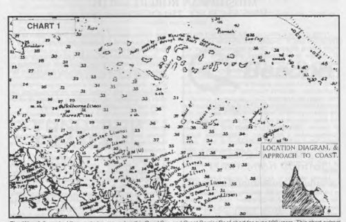 The Wansfell warning' (top centre) appeared on this Coral Sea and Great Barrier Reef chart for over 100 years. This chart extract extends from 148° to 150° E, and the latitude line is 20° S. Further Wansfell reef reports were marked some 60 and 110 miles east of the edge of this inset Scale, Bowen-Holborne I = 20'. From Admiralty Chart No 2763, courtesy of Hydrographer RN.