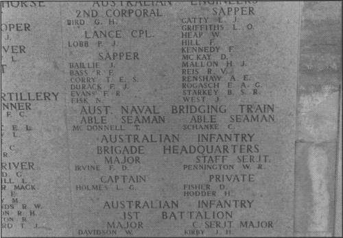 Memorial to two sailors from the RAN Bridging Train on the Lone Pine Memorial to the Missing. Both were buried at sea, following death on board a Hospital Ship from wounds or disease.