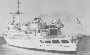 HMAS MORESBY. One of the Royal Australian Navy's quiet achievers seen departing HMAS STERLING on another north-west survey season. The Newcastle-built Hydrographic Survey Ship celebrated her 25th birthday on March 6, 1989. Photo: Navy Public Relations (WA)