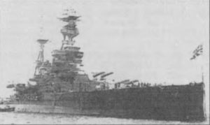 """The Battleship H.M.S. """"Royal Oak"""". """"Royal Oak"""" was the second largest ship sunk in the war by a German U-Boat."""