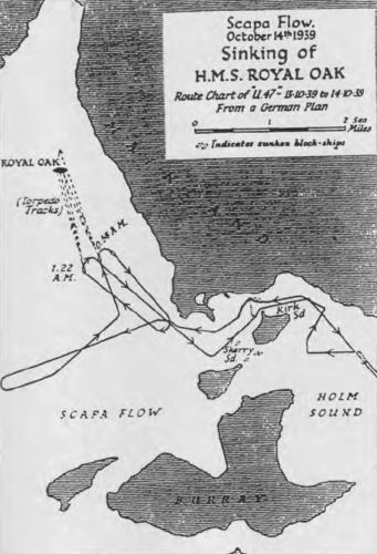 Sinking of HMS ROYAL OAK: Scapa Flow 14 October 1939 Route Chart 11:47 to 14:10:39
