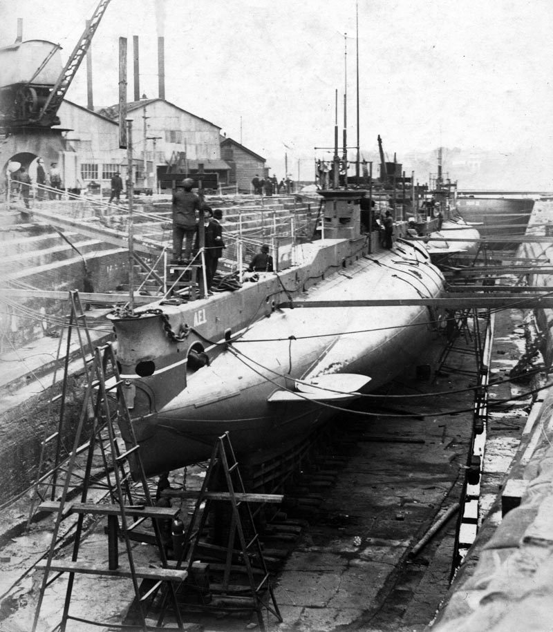 Australia's first submarines, AE1 and AE2, together in the Fitzroy Dock in June 1914