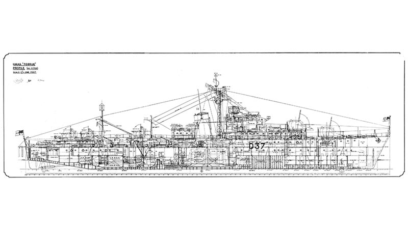 HMAS Tobruk, General Arrangement, Profile (As Fitted) 1950
