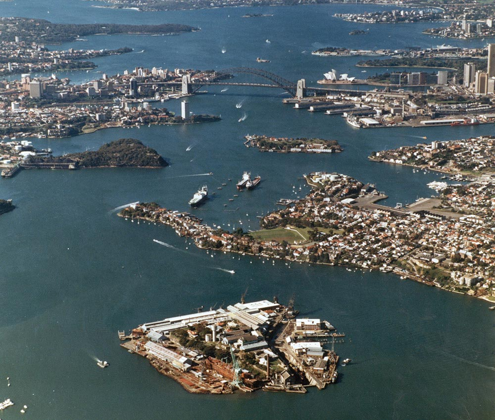 Aerial view of Cockatoo Island, with a view towards Watsons Bay