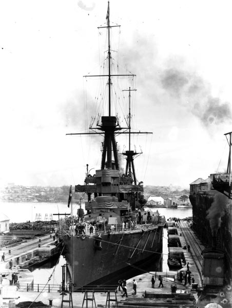 HMAS Australia in the Sutherland Dock in May 1914