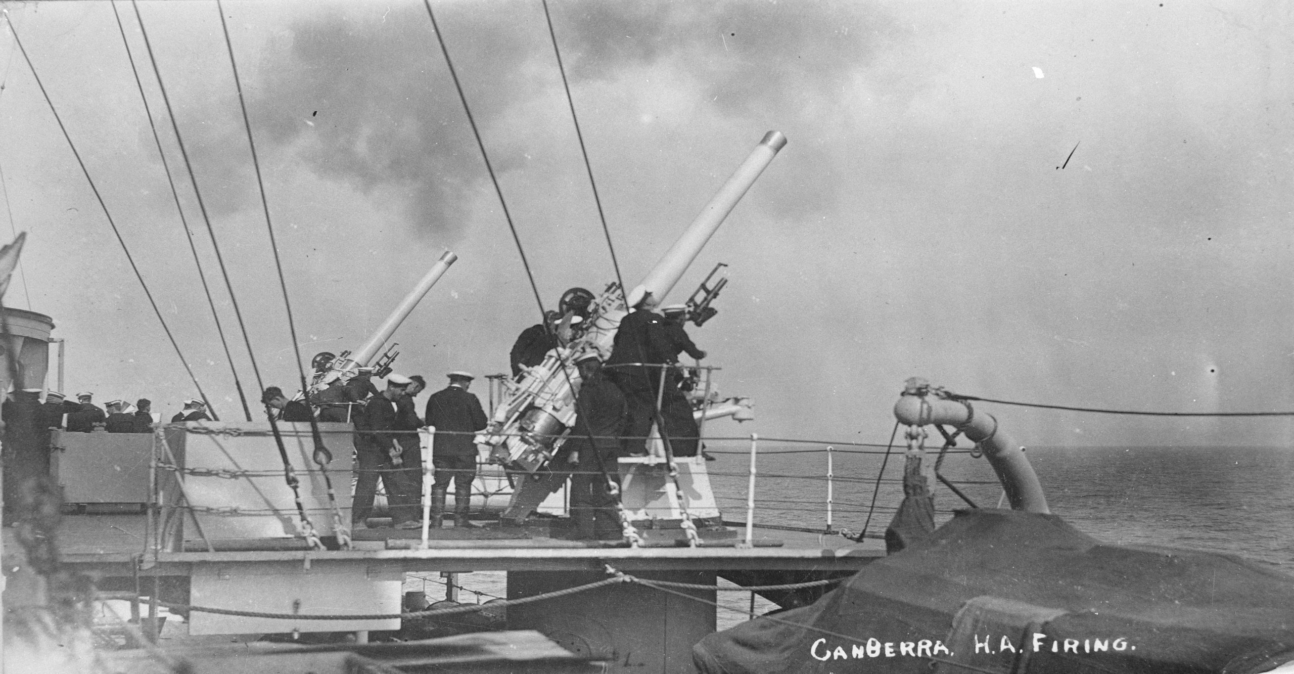 HMAS Canberra (I) 4 inch anti aircraft, high angle firing, Hervey Bay, QLD 1929