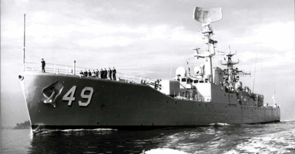 HMAS Derwent, River Class Destroyer Escort, commissioned 1964, decommissioned 1994.