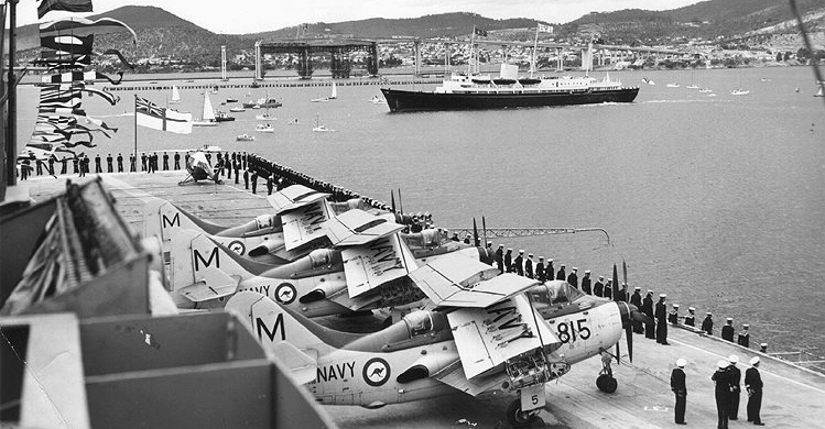 HMAS Melbourne during Royal Tour Hobart February 1963