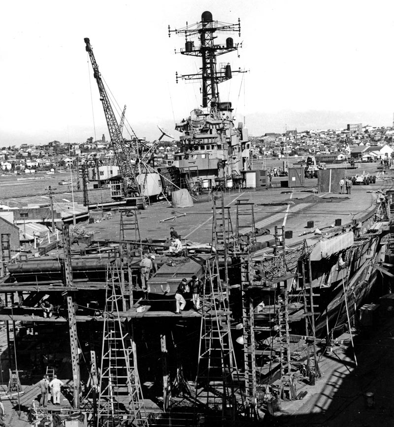 HMAS Melbourne under repair in the Sutherland Dock in 1969 after her collision with the destroyer USS Frank E Evans