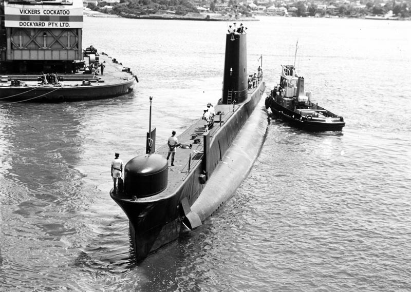 HMAS Ovens leaving Cockatoo Dockyard on 28 August 1975 on the completion of her first refit