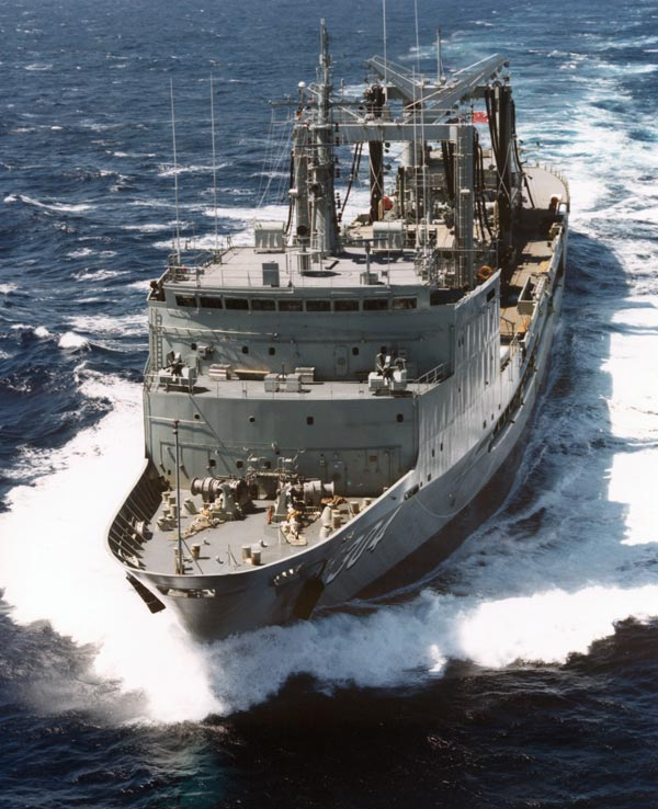HMAS Success at full power during sea trials in 1985