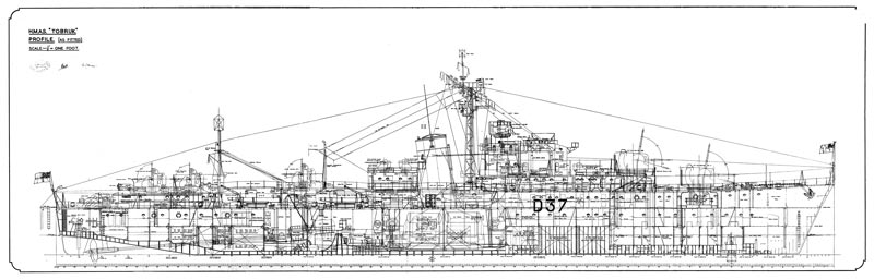 HMAS Tobruk, General Arrangement, Profile (As Fitted) 1950 NAA: M2835,74