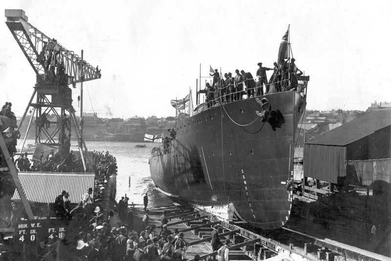 The second HMAS Torrens entering the water from No 2 slipway on 28 September 1968