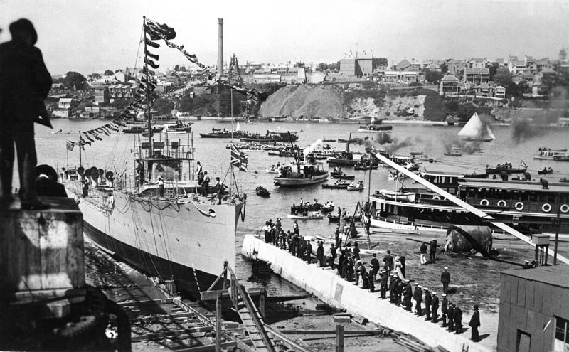 The launching of HMAS Warrego on 4 April 1911
